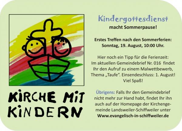 Kirchengemeinde Landsweiler Schiffweiler Kindergottesdienst