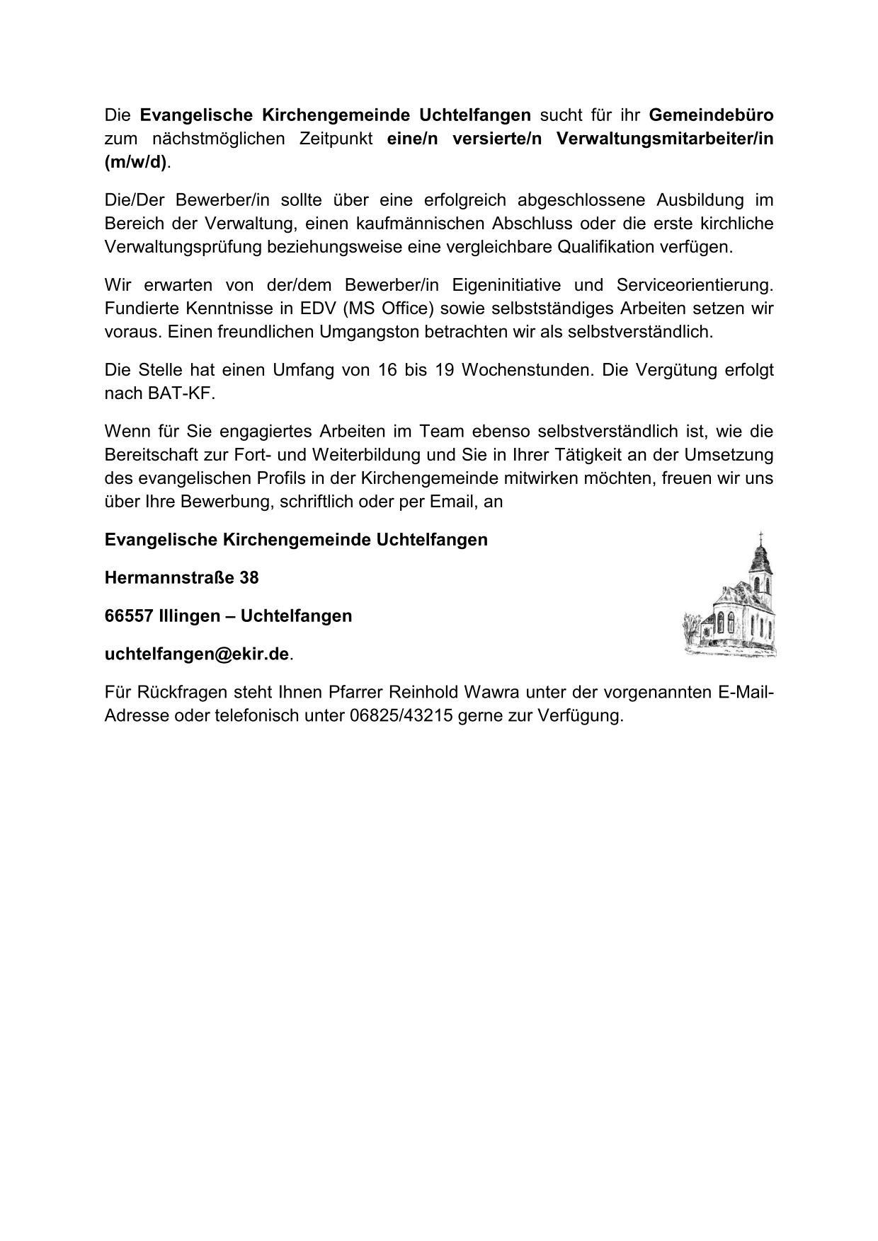 Stellenausschreibung Gemeindeamt