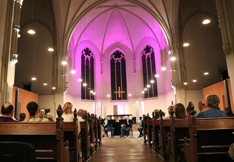 """""""Movie Brass"""", das Blechbläserquintett SÜDWESTWIND des Saarländischen Staatsorchesters spielte in der Saarbrücker Johanneskirche. Foto: evks/ Paulus"""