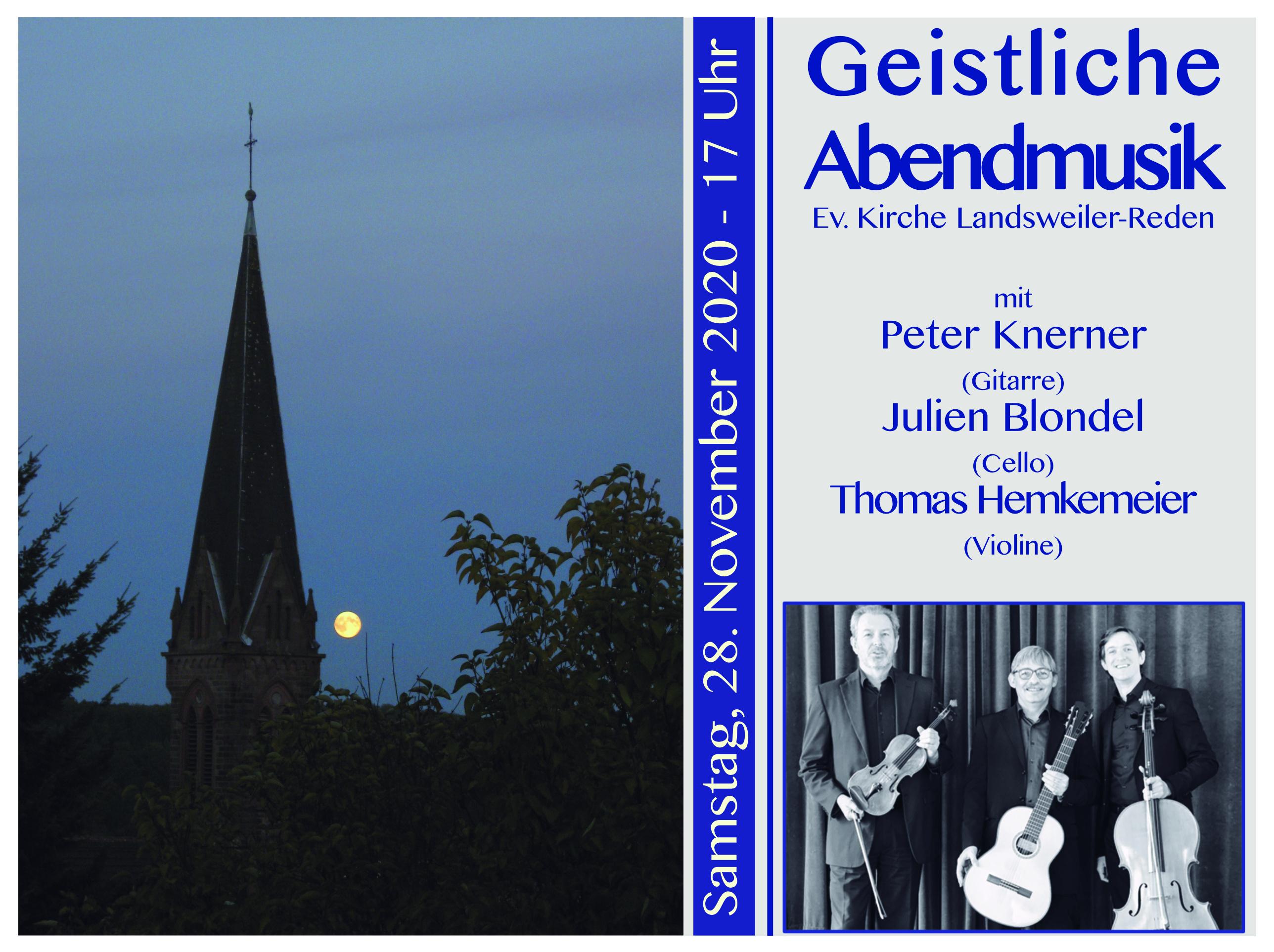 Einladung zur Geistlichen Abendmusik am 28.11.2020