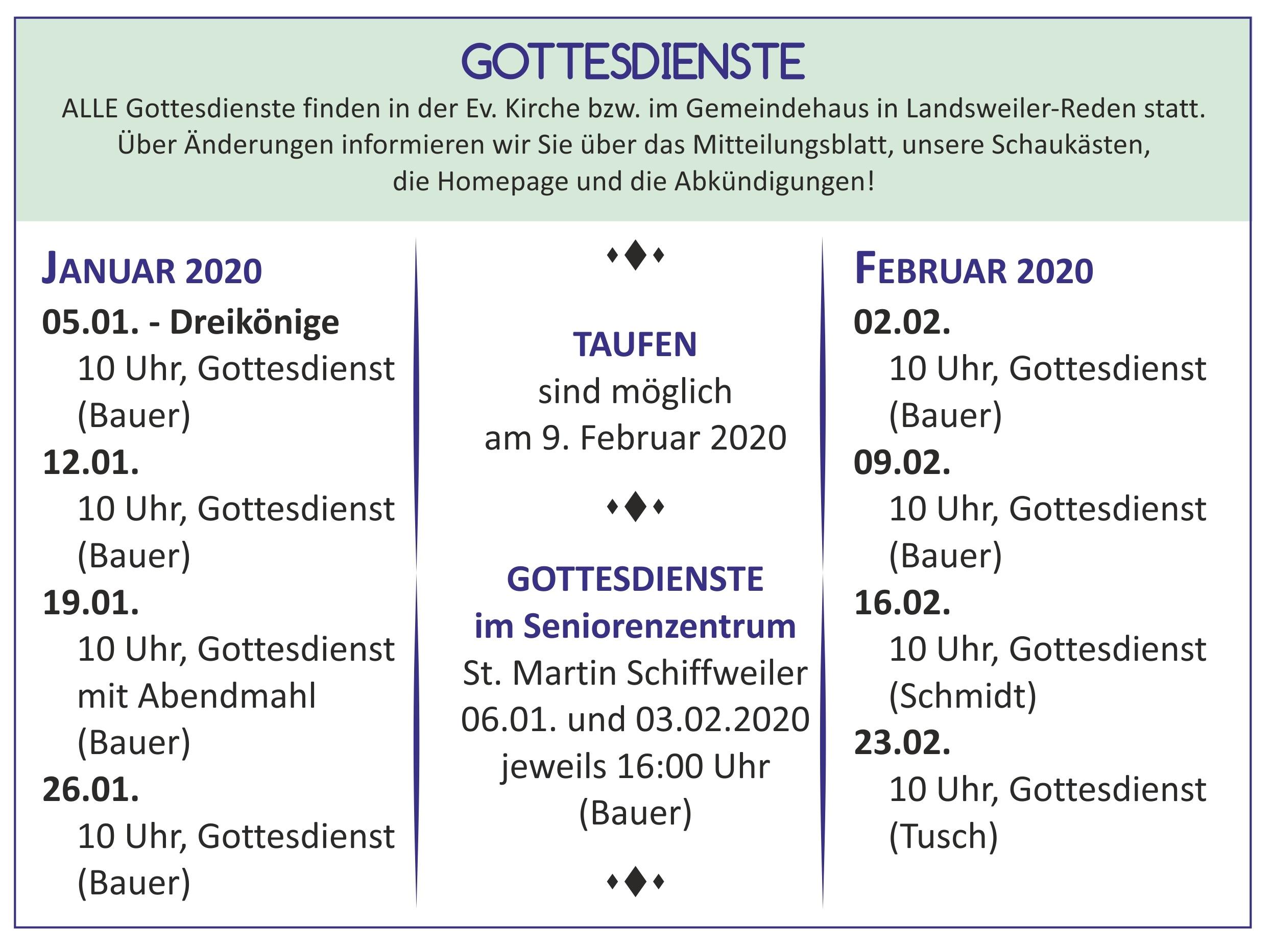 Gottesdienste Januar und Februar 2020