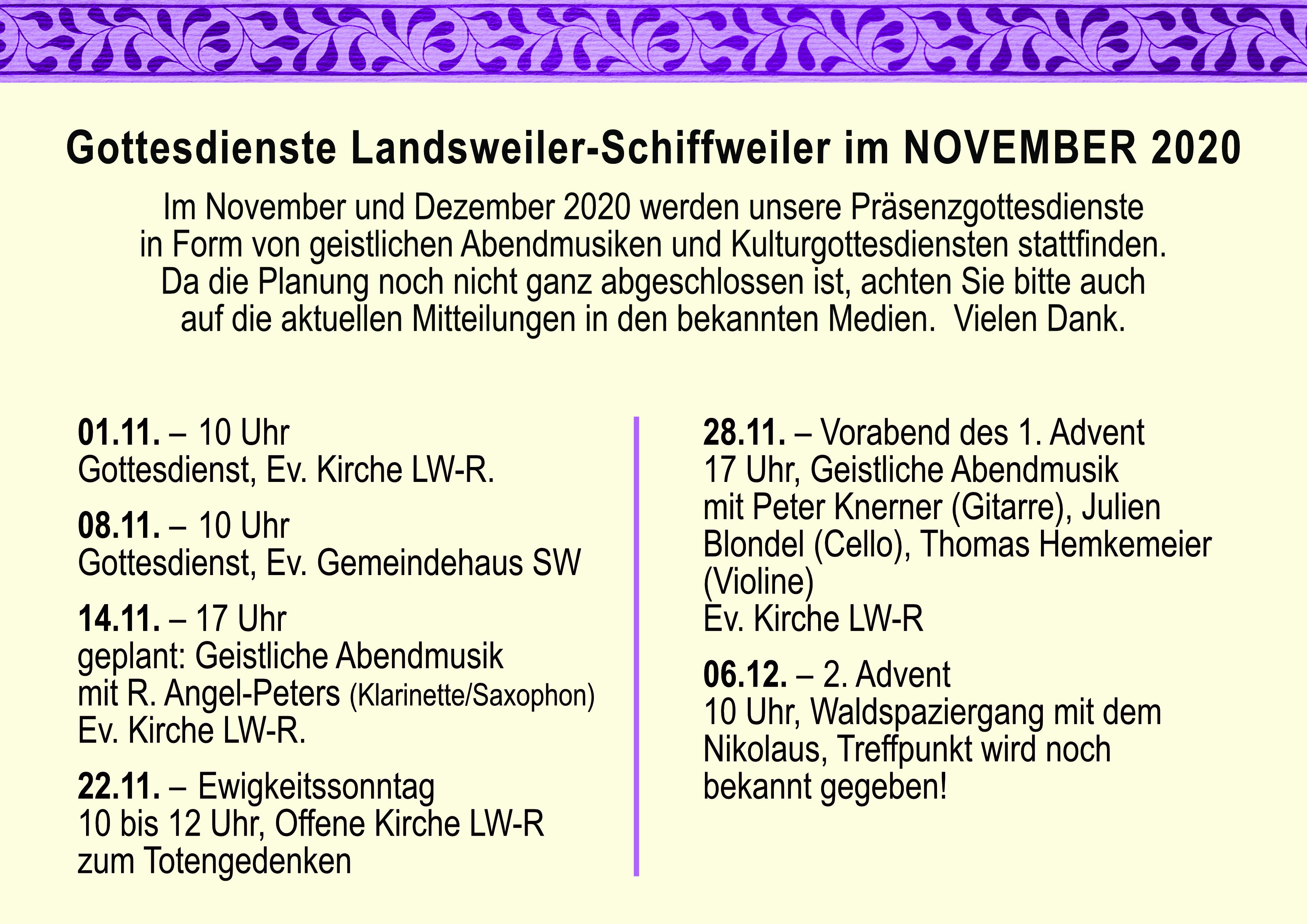 Gottesdienste im November 2020