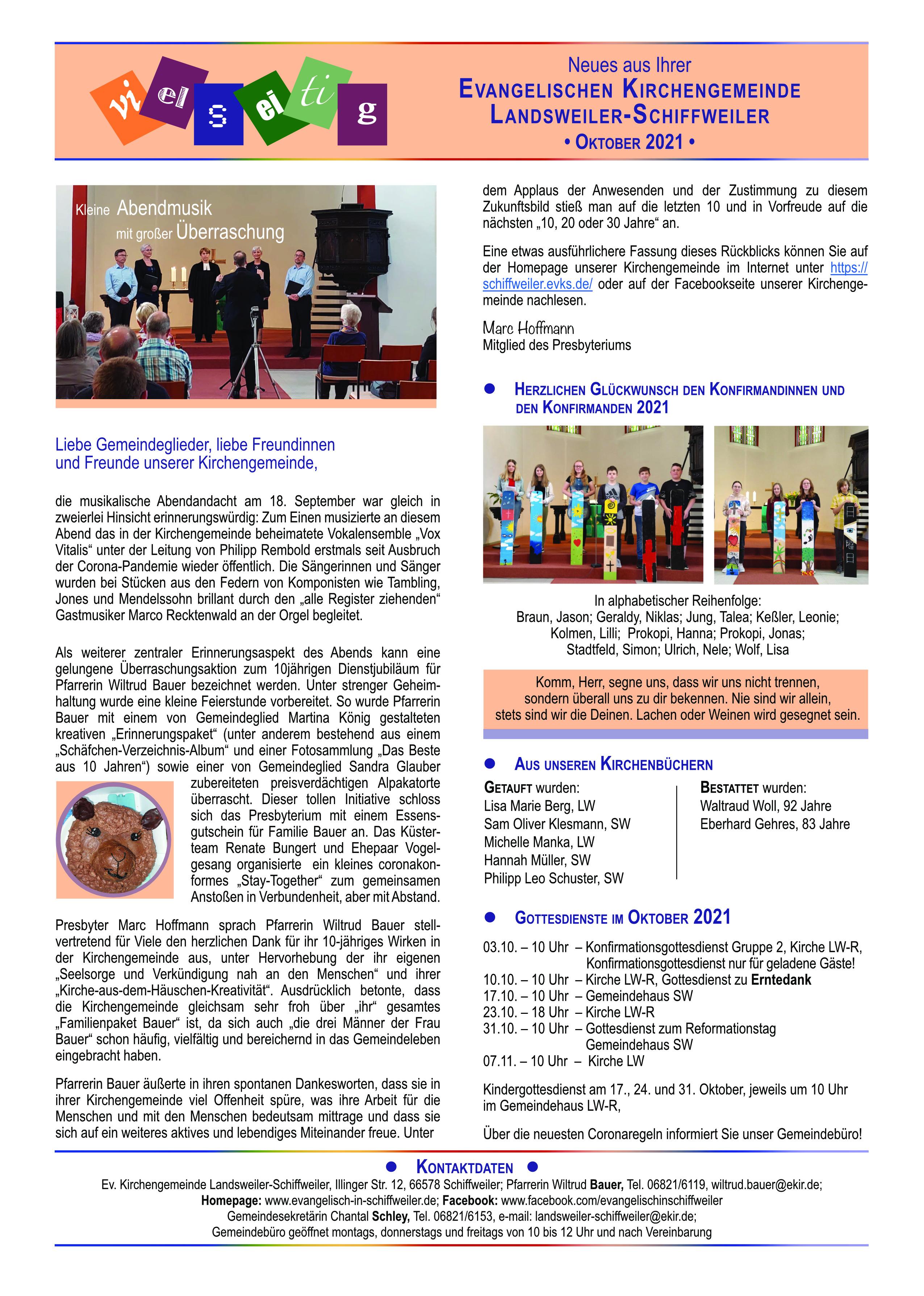 Neues aus der Ev. Kirchengemeinde LW-SW - Oktober 2021