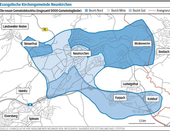 Die neuen Seelsorgebezirke ab 2019 (Karte_Quelle SZ)