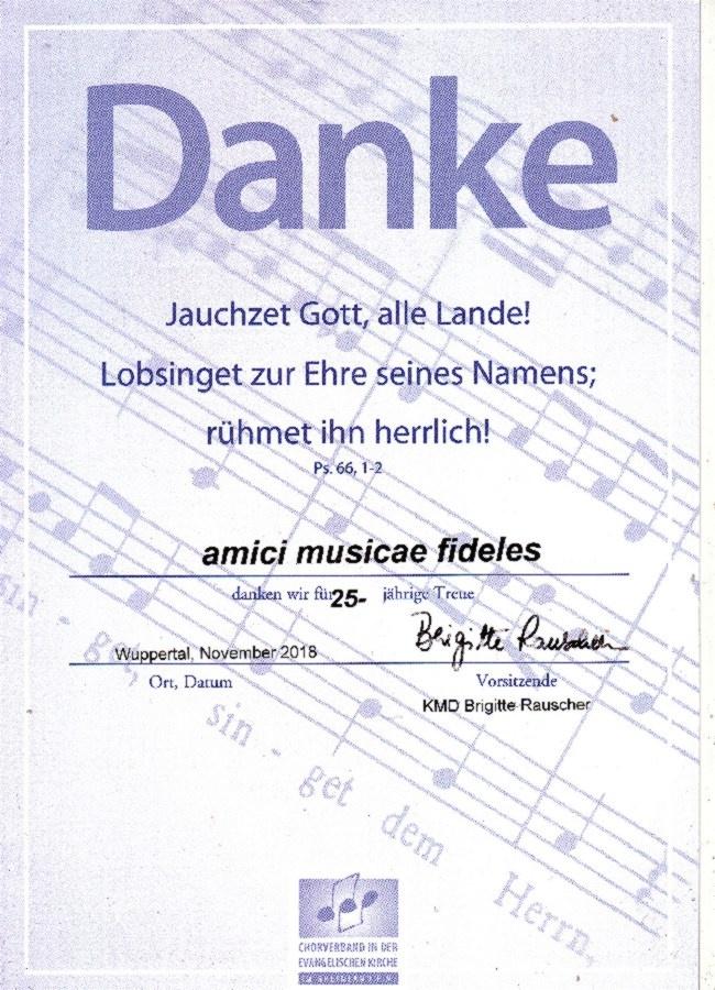 """Danke den """"amici musicae fideles"""" für ihre 25-jährige Treue"""
