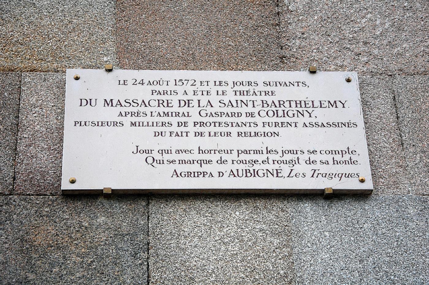 Erinnerungstafel zur 'Bartholomäusnacht'