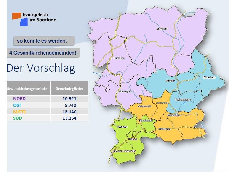 Der geplante Zuschnitt der zu gründenden Gesamtkirchengemeinden, Grafik: Civos Geodata Gbr 2007 Dr. Florian Scherz, Mathias Besser; adaptiert vom Kirchenkreis Saar-Ost