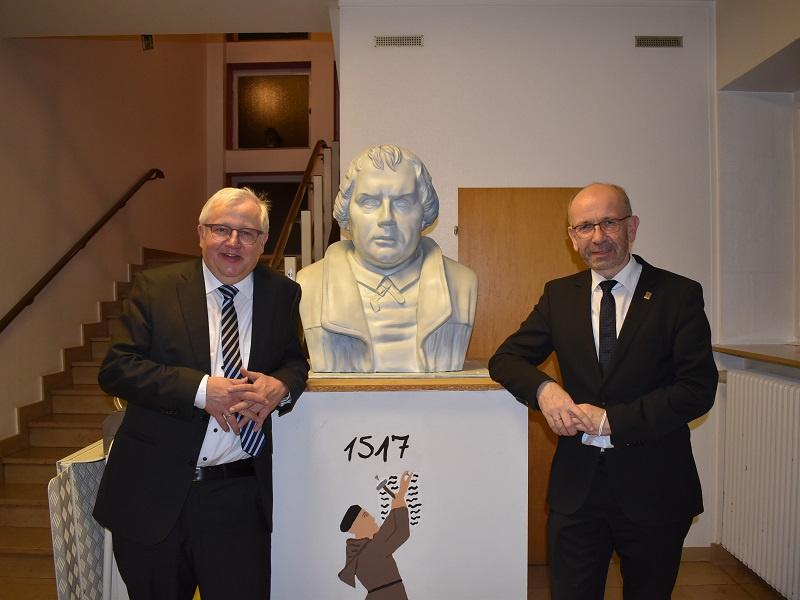 Synodalassessor Uwe Schmidt und Präses Manfred Rekowski feierten gemeinsam den Reformationsgottesdienst in Neunkirchen-Furpach, Foto: Ev. Kgm. Neunkirchen