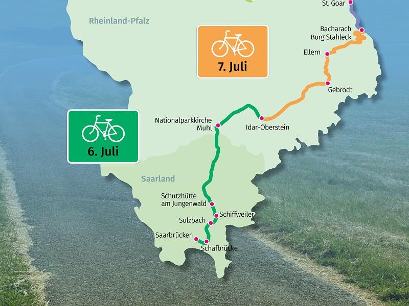 Der südliche Teil der Sommertour, Karte. EKiR