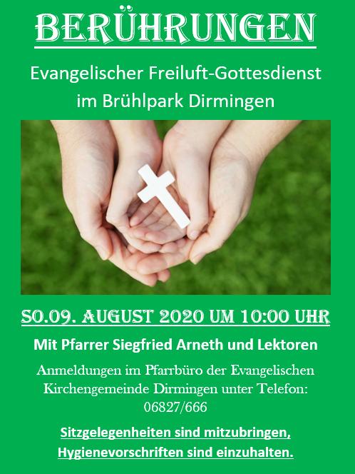Evangelischer Gottesdienst 'Berührungen' im Brühlpark