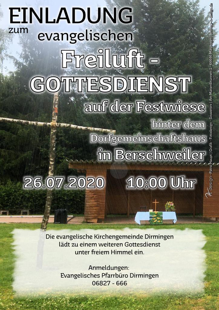 Freiluft-Gottesdienst auf der Festwiese in Berschweiler