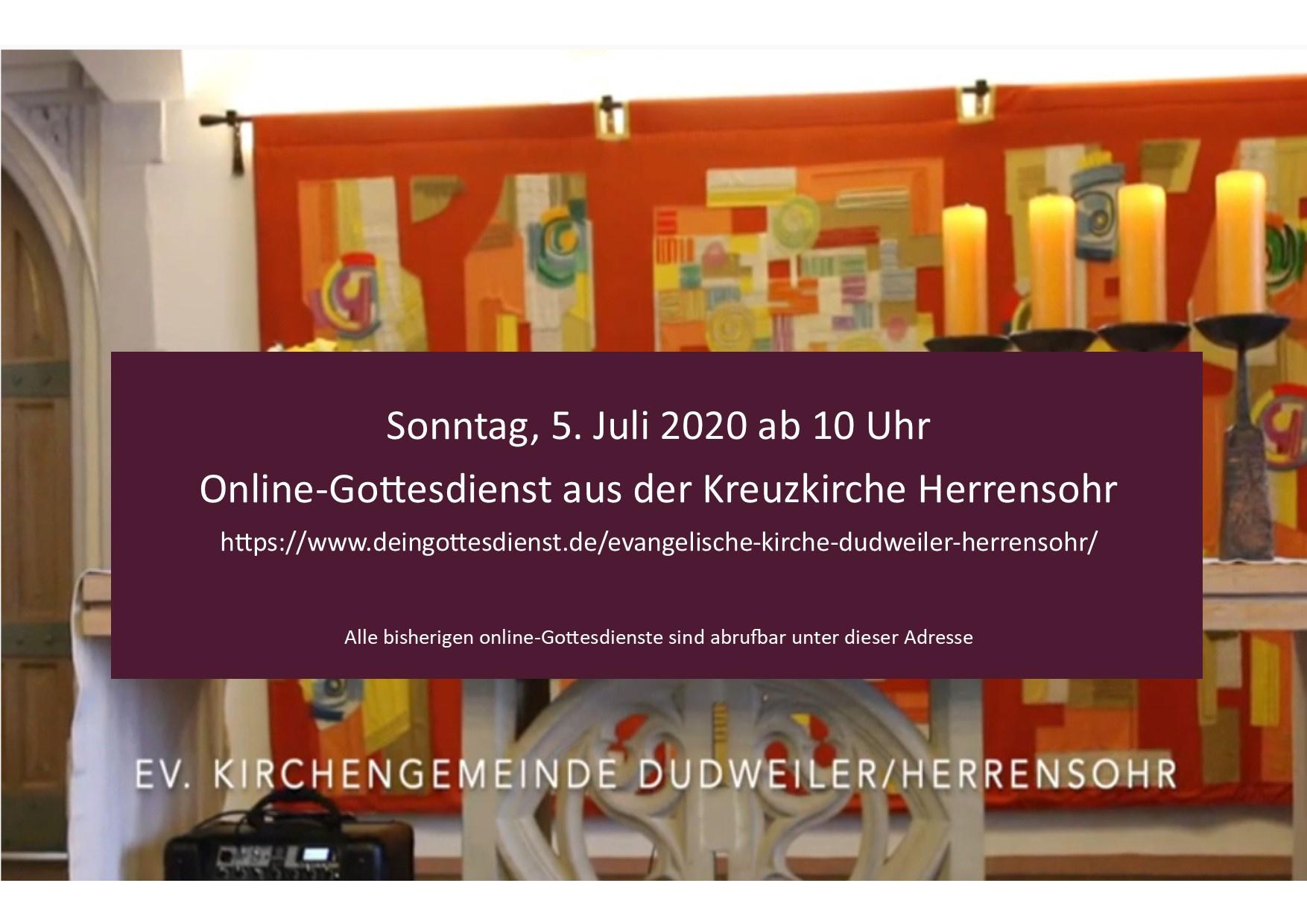 online-Gottesdienst am Sonntag, 5. Juli um 10 Uhr