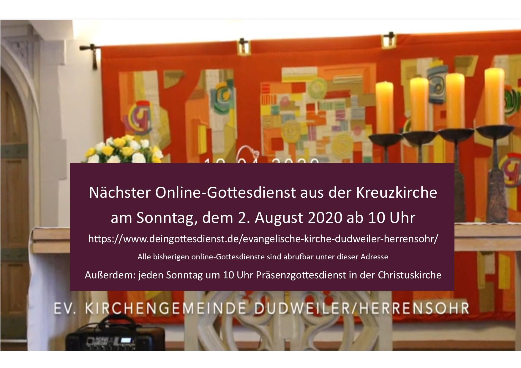 online-Gottesdienst am Sonntag, 2. August um 10 Uhr