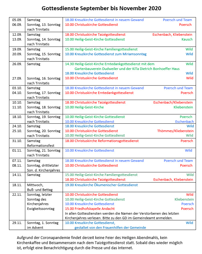 Gottesdienste September bis November 2020