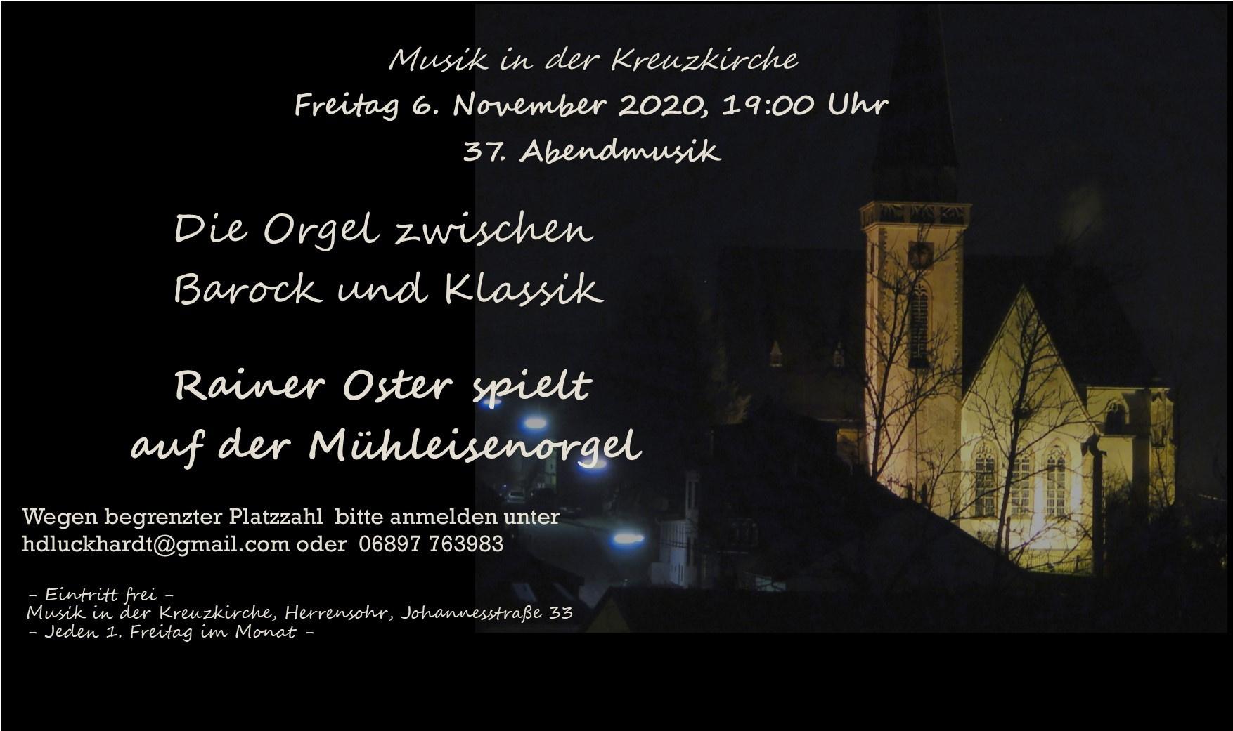 Auf unbestimmte Zeit verschoben: 37. Abendmusik: Die Orgel zwischen Barock und Klassik