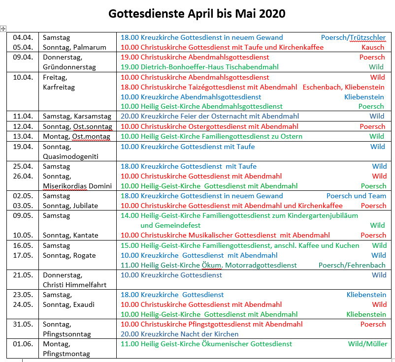 Gottesdienste April-Mai 2020