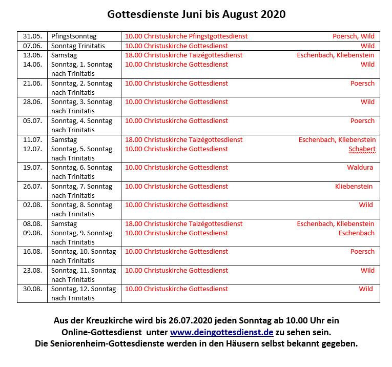 Gottesdienste Juni-August 2020