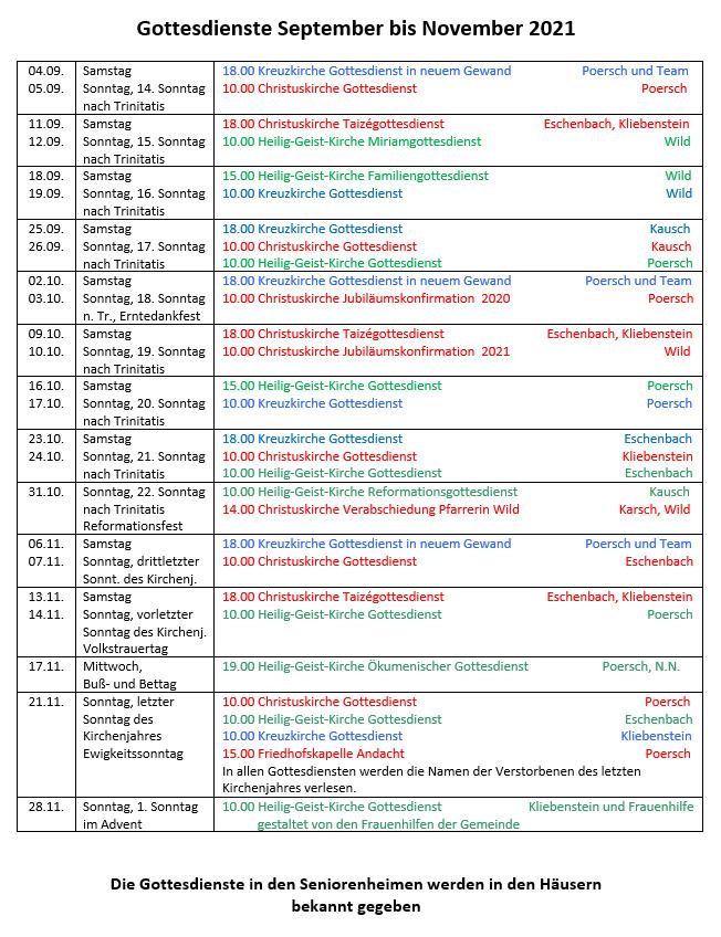 Gottesdienste September bis November 2021