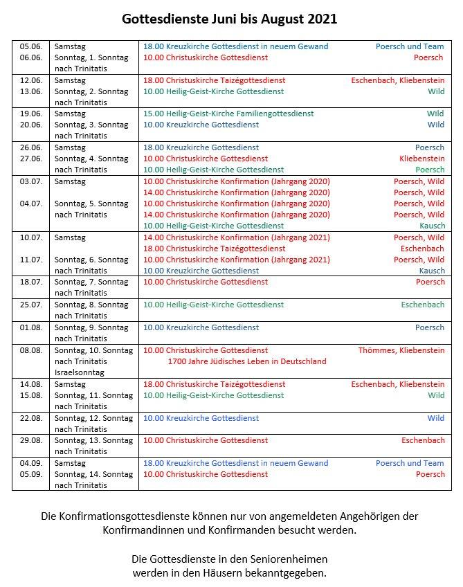 Gottesdienste Juni bis August 2021