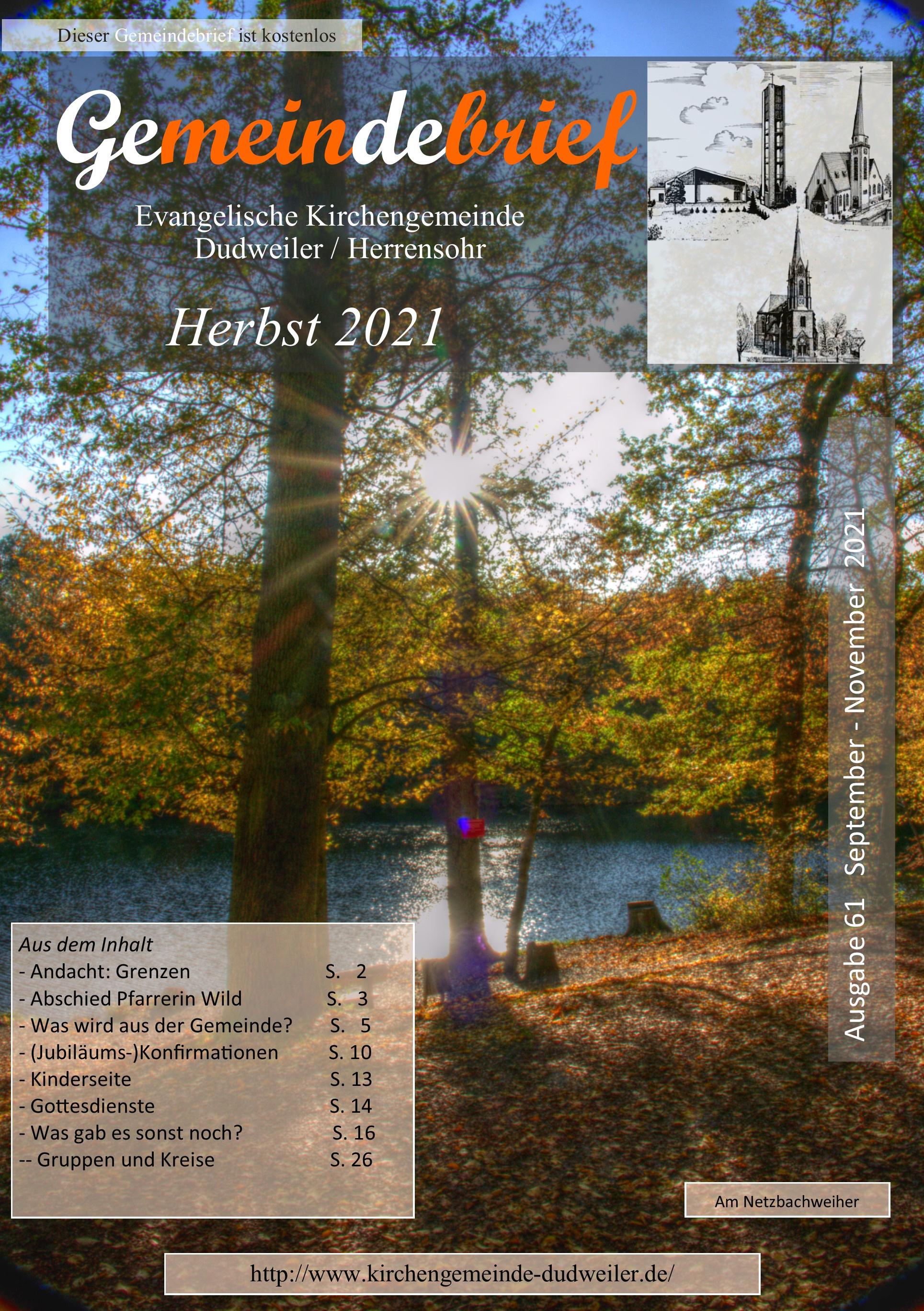 Neuer Gemeindebrief September-November 2021